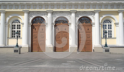 Doors of Manege Exhibition Hall in Moscow closeup