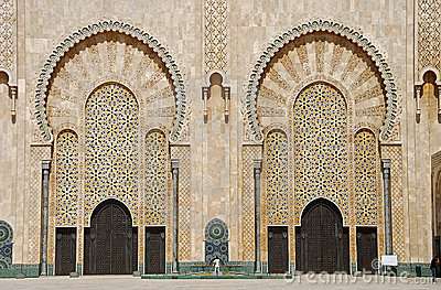 Doors of the mosque of Hassan II.