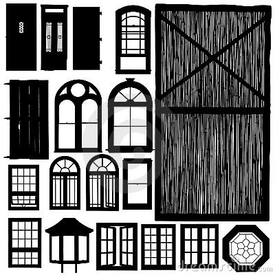 Doors and windows silhouette set