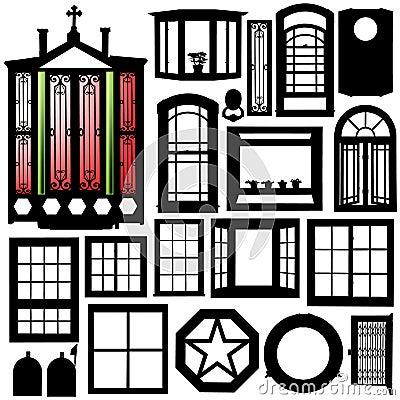 Doors, windows silhouette set