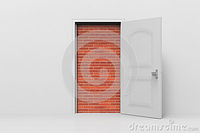 Doorway blocked by a brick walls