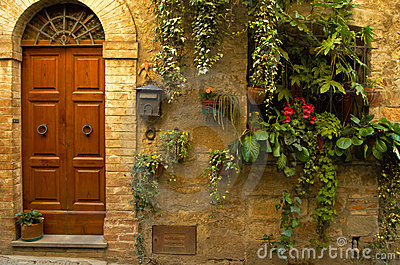 Doorway with flowers
