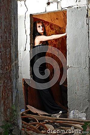 Doorway Goth Girl
