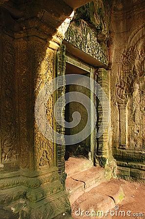 Free Doorway In Sunlight, Ta Prohm Temple, Cambodia Royalty Free Stock Photos - 30053698