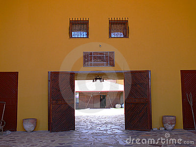 Doorway to cobbled courtyard