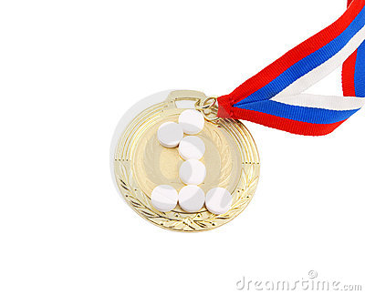 Doping in sport, gold medal and tablets