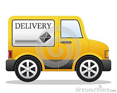 Doręczeniowy kreskówka samochód dostawczy