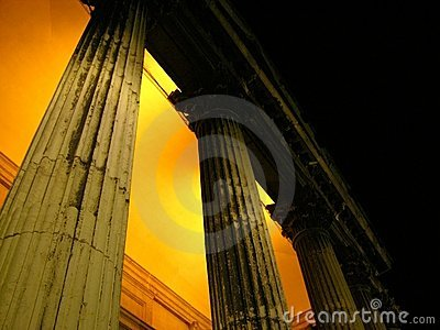 Doric columns night view Venice
