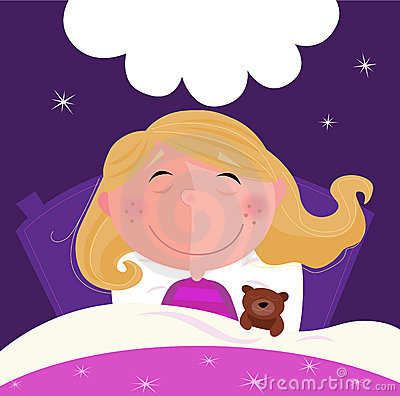 Dormendo e ragazza di sogno in pigiama dentellare