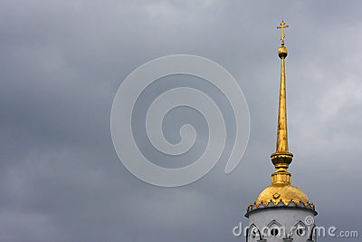 Dormition Cathedral tower in Bad weather