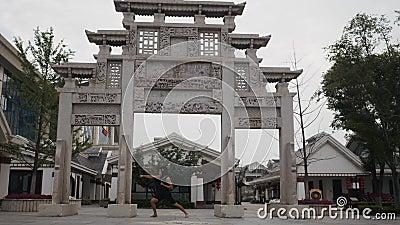 Dorosły mężczyzna postępuje niemądry śmiesznego w małpy masce przed antyczną świątynią w Asia gdzieś zbiory wideo