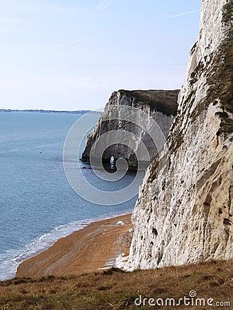 Chalk cliffs on Dorset coast