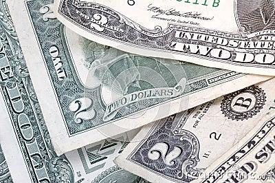 Dos billetes de dólar - horizontales