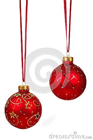 Dos bolas rojas de la navidad en una cinta roja foto de - Cinta de navidad ...