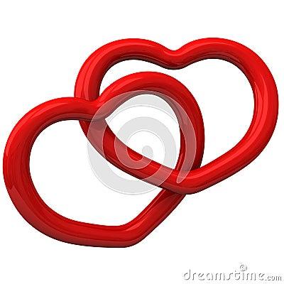 Dos corazones rojos junto 3d