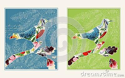Dos diseños del pájaro del collage