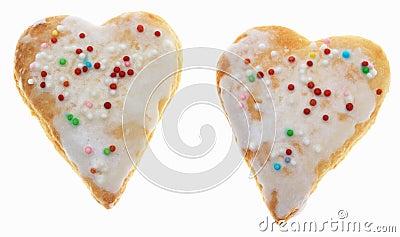 Dos galletas en forma de corazón