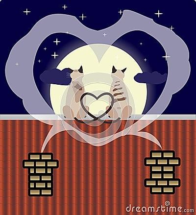 Dos gatos de los amantes en la azotea