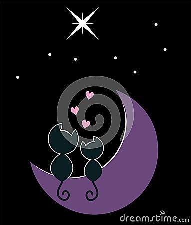 Dos gatos en la luna