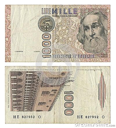 Italiano interrumpido 1000 liras de nota del dinero