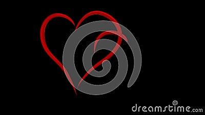 Dos ligaron los corazones dibujados en las líneas rojas animación de 3d, 4k 60fps ilustración del vector