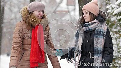 Dos muchachas en invierno que caminan y que hablan con uno a Discuta algo almacen de video