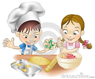 Dos niños que se divierten en la cocina