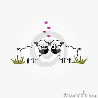Dos ovejas divertidas de la historieta en amor