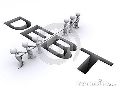 Dos personas luchan sobre una sima de la deuda