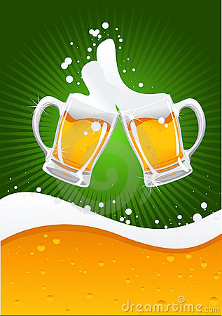Dos tazas de cerveza y ondas de la cerveza