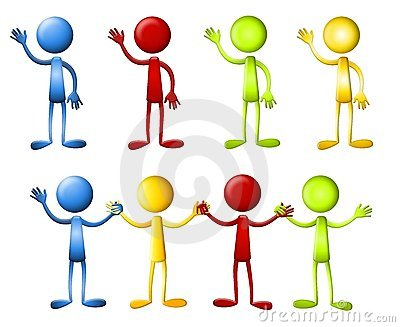 Dot Heads Waving Holding Hands