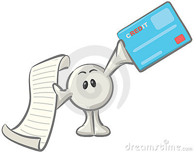 Dot Man with Credit Card and Receipt