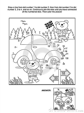 Dot-to-dot and coloring page - car and bear mechanics