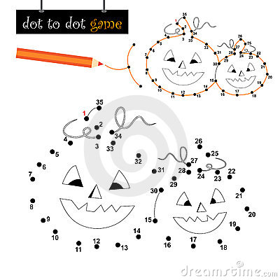 Dot to dot game: halloween pumpkins