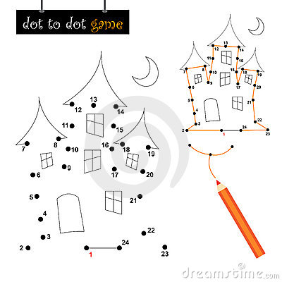 Dot to dot game: haunted house