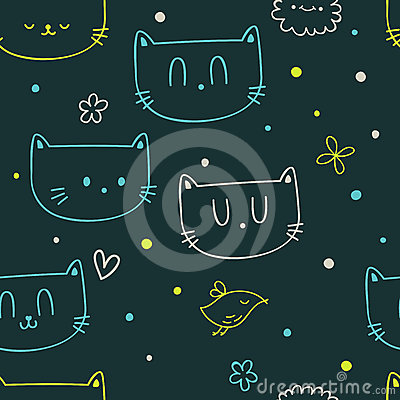 Dots, flowers, cats and birds
