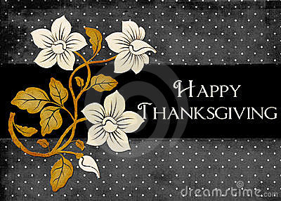 Dots & Flowers Happy Thanksgiving Card