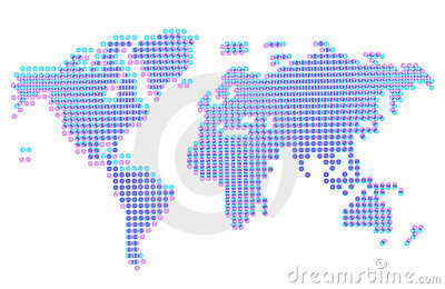 Dotted abstract worldmap with offset