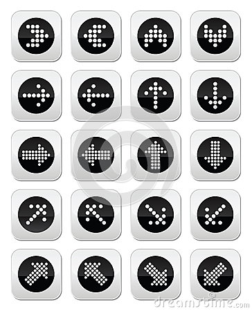 Dotted arrows round icons set isolated on white