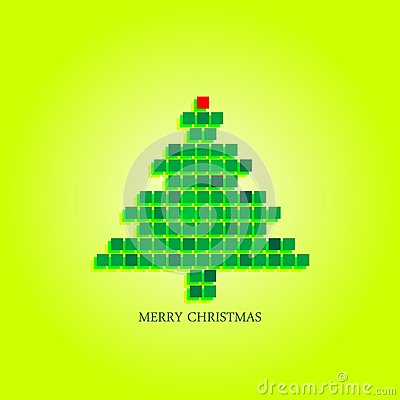Dotted christmas tree funky greeting card design