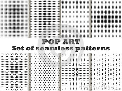 Dotted, Pop Art seamless pattern set. Halftone dots background. Black and white color. Vector Vector Illustration