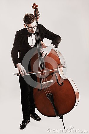 Free Double Bass Player Playing Contrabass Stock Photo - 108089120