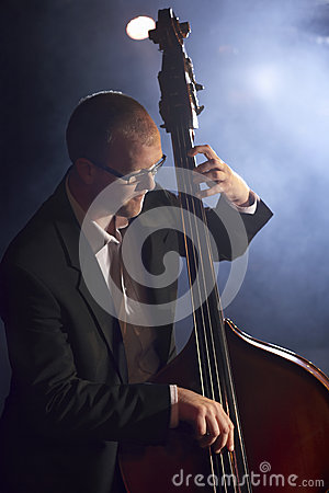 Double Bass Player On Stage