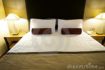 Double bed in the hotel