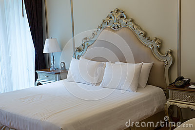 Double bed in the hotel room