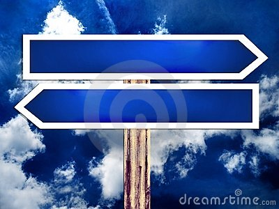 Double blank direction road sign and the sky