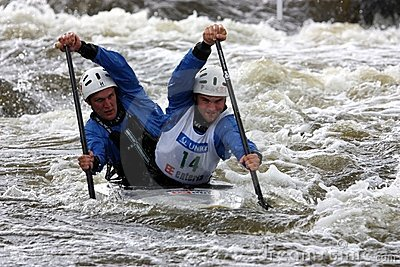 Double canoe slalom competition Editorial Image
