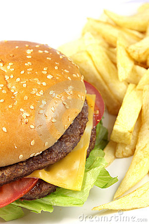 Free Double Cheese Burger With Chips Stock Photos - 11296253