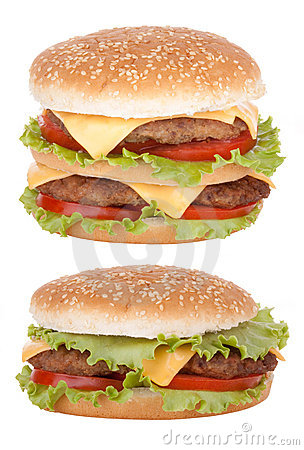 Free Double Cheeseburger Fast Food Royalty Free Stock Image - 19829546