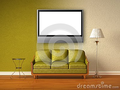Double coloured interior of living room